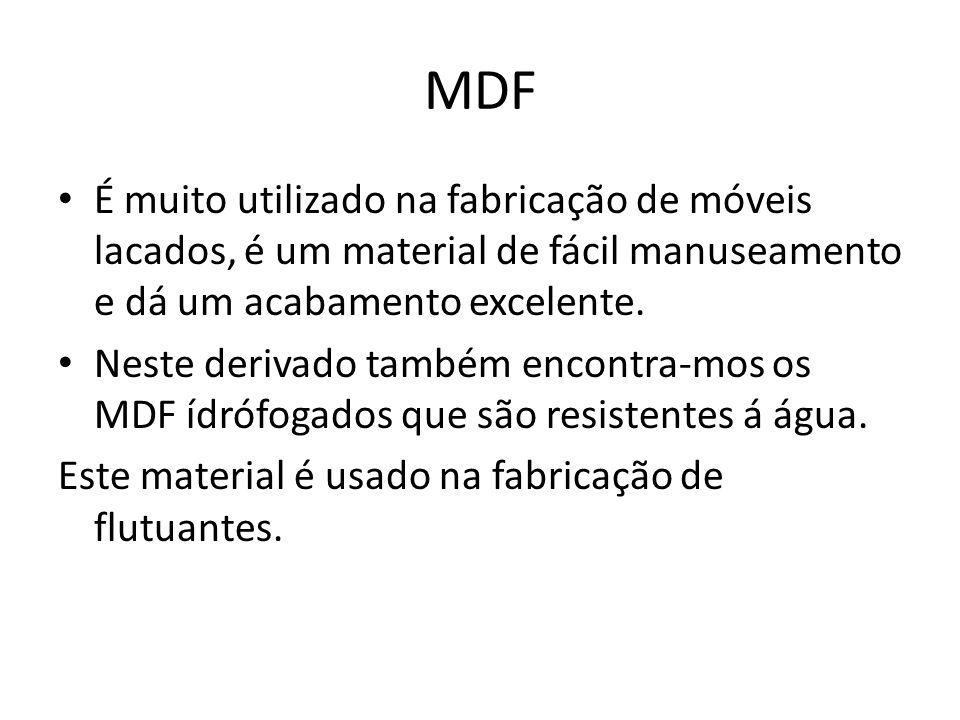 MDF É muito utilizado na fabricação de móveis lacados, é um material de fácil manuseamento e dá um acabamento excelente. Neste derivado também encontr