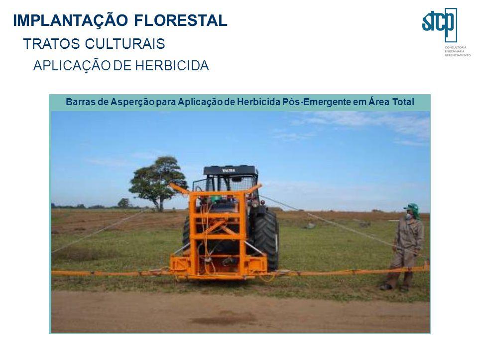IMPLANTAÇÃO FLORESTAL TRATOS CULTURAIS APLICAÇÃO DE HERBICIDA Barras de Asperção para Aplicação de Herbicida Pós-Emergente em Área Total