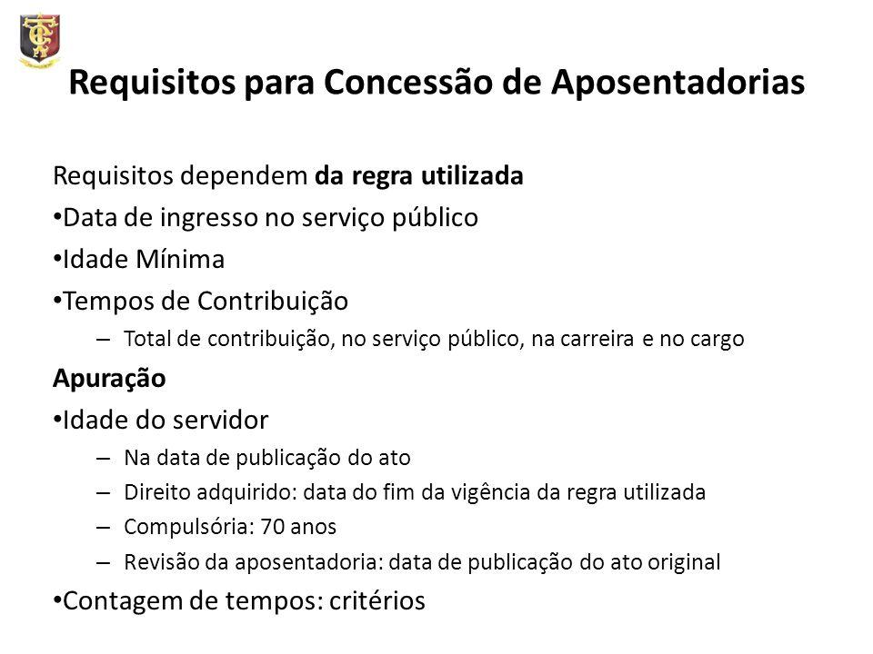 Requisitos para Concessão de Aposentadorias Requisitos dependem da regra utilizada Data de ingresso no serviço público Idade Mínima Tempos de Contribu