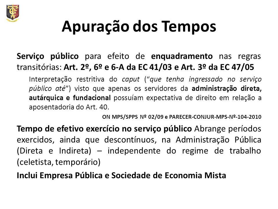 Apuração dos Tempos Serviço público para efeito de enquadramento nas regras transitórias: Art. 2º, 6º e 6-A da EC 41/03 e Art. 3º da EC 47/05 Interpre