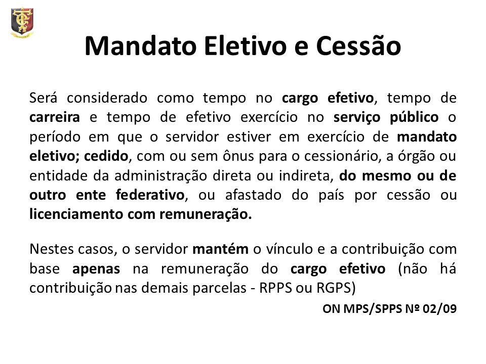 Mandato Eletivo e Cessão Será considerado como tempo no cargo efetivo, tempo de carreira e tempo de efetivo exercício no serviço público o período em