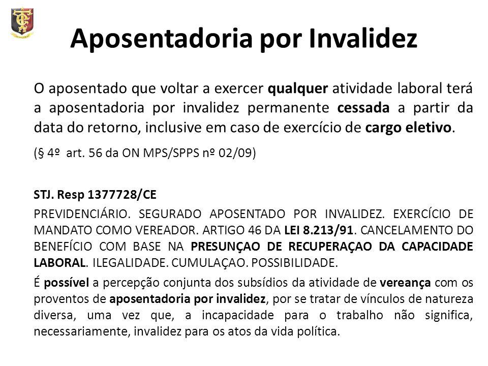 Aposentadoria por Invalidez O aposentado que voltar a exercer qualquer atividade laboral terá a aposentadoria por invalidez permanente cessada a parti