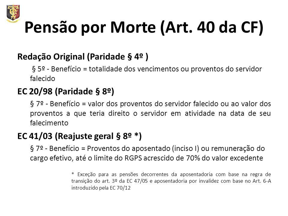 Pensão por Morte (Art. 40 da CF) Redação Original (Paridade § 4º ) § 5º - Benefício = totalidade dos vencimentos ou proventos do servidor falecido EC