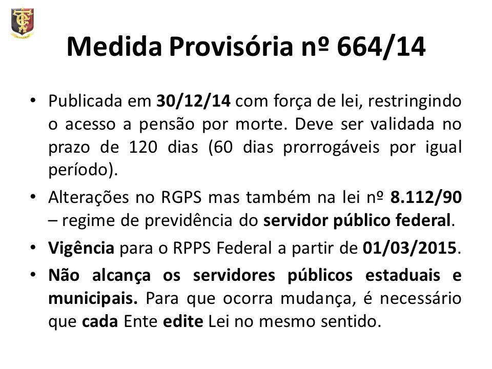 Medida Provisória nº 664/14 Publicada em 30/12/14 com força de lei, restringindo o acesso a pensão por morte.