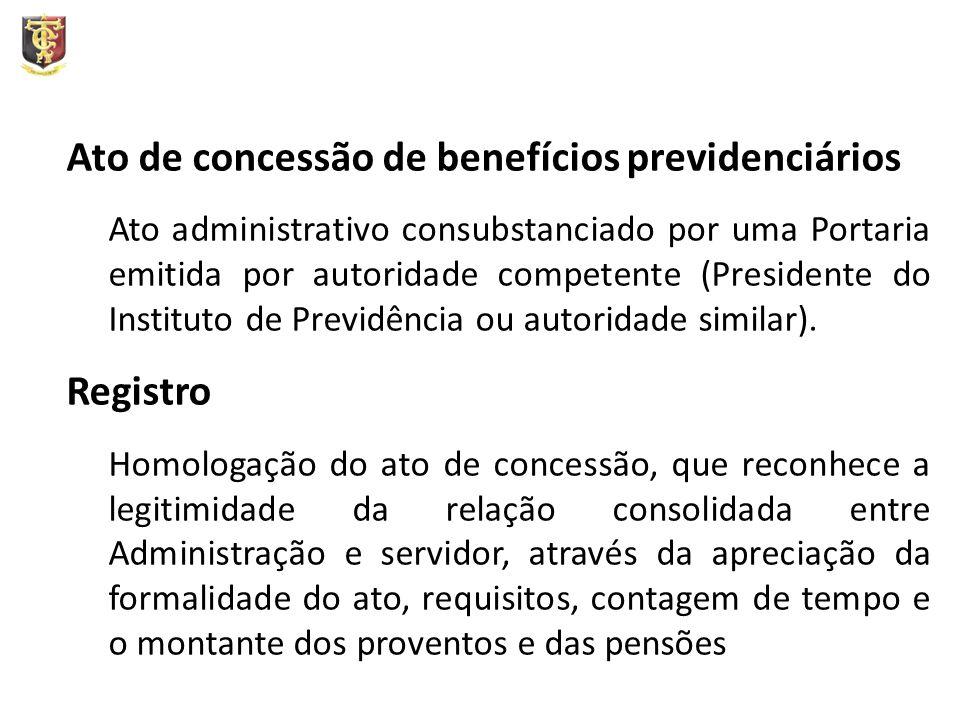 Ato de concessão de benefícios previdenciários Ato administrativo consubstanciado por uma Portaria emitida por autoridade competente (Presidente do Instituto de Previdência ou autoridade similar).