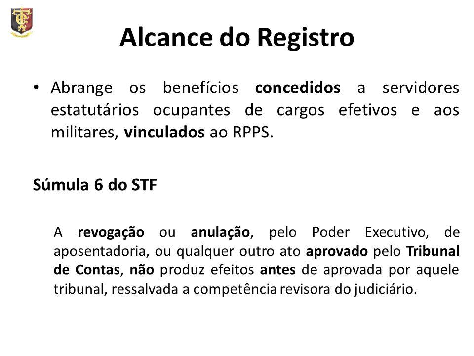 Alcance do Registro Abrange os benefícios concedidos a servidores estatutários ocupantes de cargos efetivos e aos militares, vinculados ao RPPS. Súmul