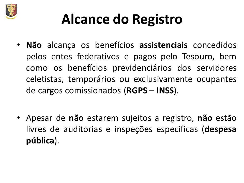 Alcance do Registro Não alcança os benefícios assistenciais concedidos pelos entes federativos e pagos pelo Tesouro, bem como os benefícios previdenciários dos servidores celetistas, temporários ou exclusivamente ocupantes de cargos comissionados (RGPS – INSS).