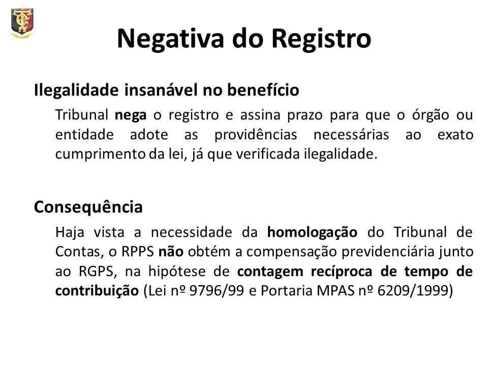 Negativa do Registro Ilegalidade insanável no benefício Tribunal nega o registro e assina prazo para que o órgão ou entidade adote as providências necessárias ao exato cumprimento da lei, já que verificada ilegalidade.