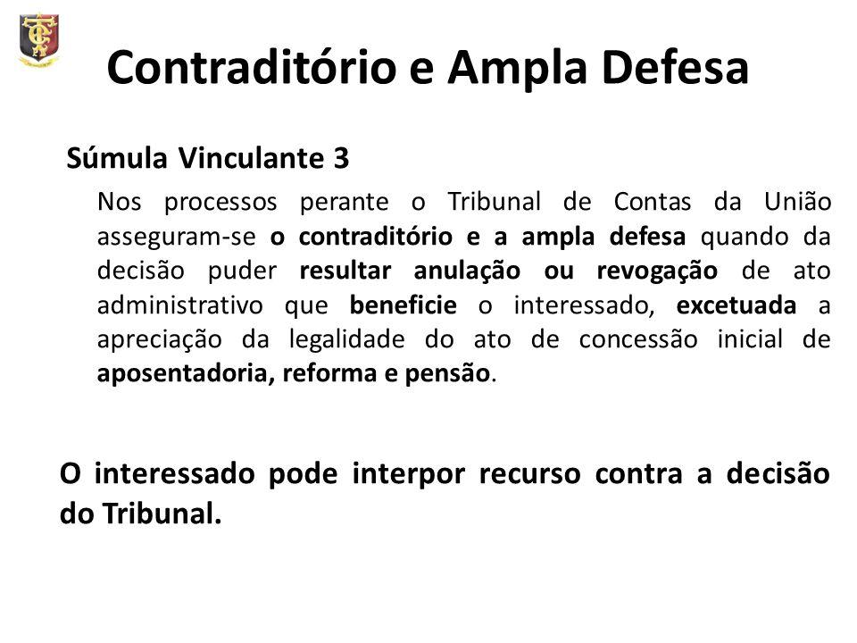 Contraditório e Ampla Defesa Súmula Vinculante 3 Nos processos perante o Tribunal de Contas da União asseguram-se o contraditório e a ampla defesa qua