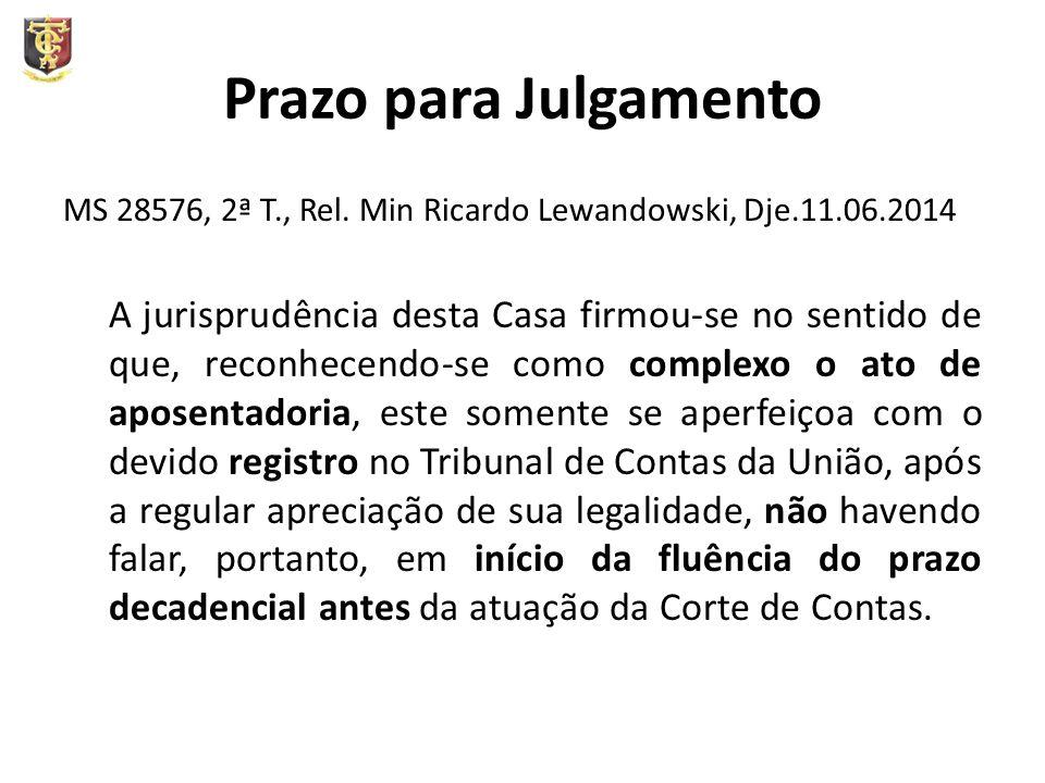 Prazo para Julgamento MS 28576, 2ª T., Rel. Min Ricardo Lewandowski, Dje.11.06.2014 A jurisprudência desta Casa firmou-se no sentido de que, reconhece