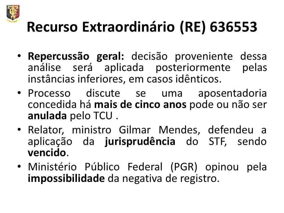 Recurso Extraordinário (RE) 636553 Repercussão geral: decisão proveniente dessa análise será aplicada posteriormente pelas instâncias inferiores, em c
