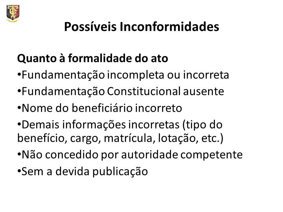 Possíveis Inconformidades Quanto à formalidade do ato Fundamentação incompleta ou incorreta Fundamentação Constitucional ausente Nome do beneficiário
