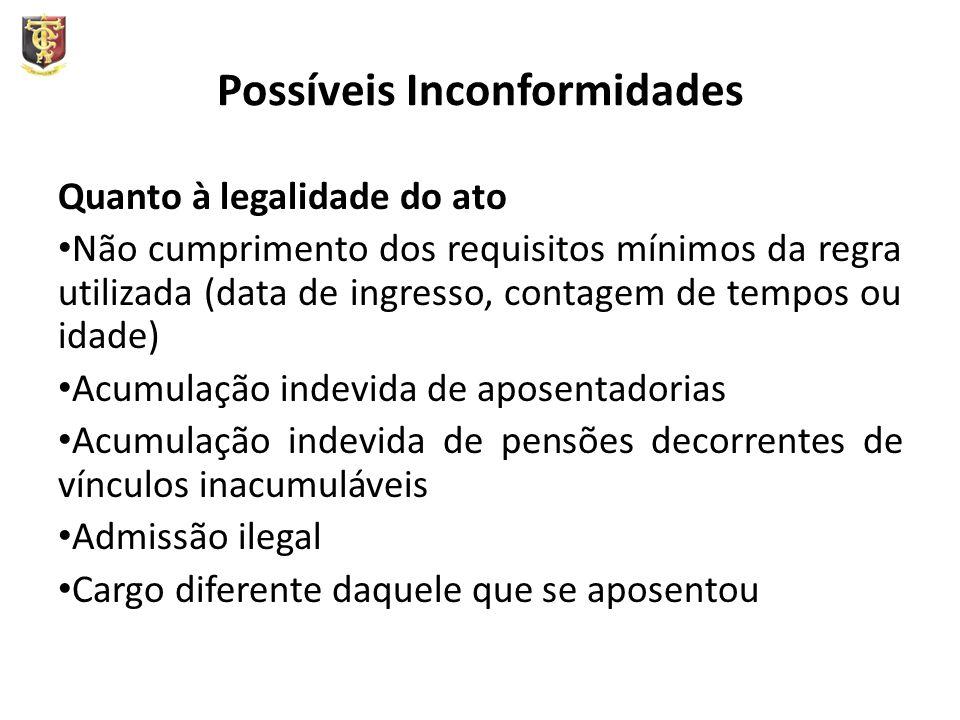 Possíveis Inconformidades Quanto à legalidade do ato Não cumprimento dos requisitos mínimos da regra utilizada (data de ingresso, contagem de tempos o