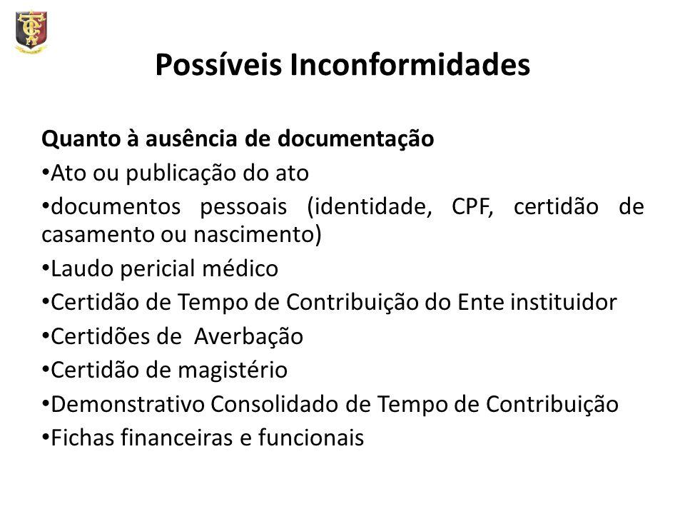 Possíveis Inconformidades Quanto à ausência de documentação Ato ou publicação do ato documentos pessoais (identidade, CPF, certidão de casamento ou na