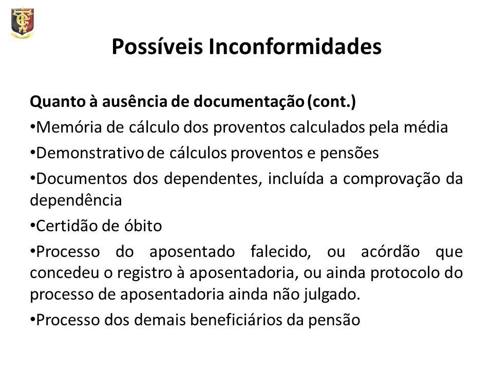 Possíveis Inconformidades Quanto à ausência de documentação (cont.) Memória de cálculo dos proventos calculados pela média Demonstrativo de cálculos p