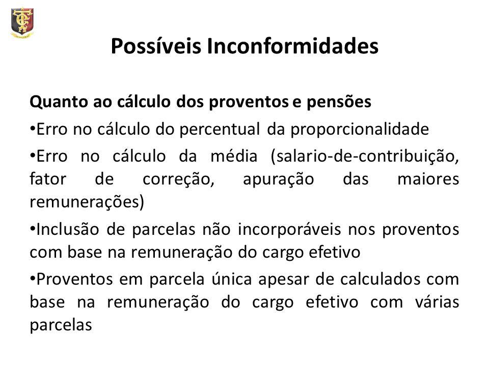 Possíveis Inconformidades Quanto ao cálculo dos proventos e pensões Erro no cálculo do percentual da proporcionalidade Erro no cálculo da média (salar