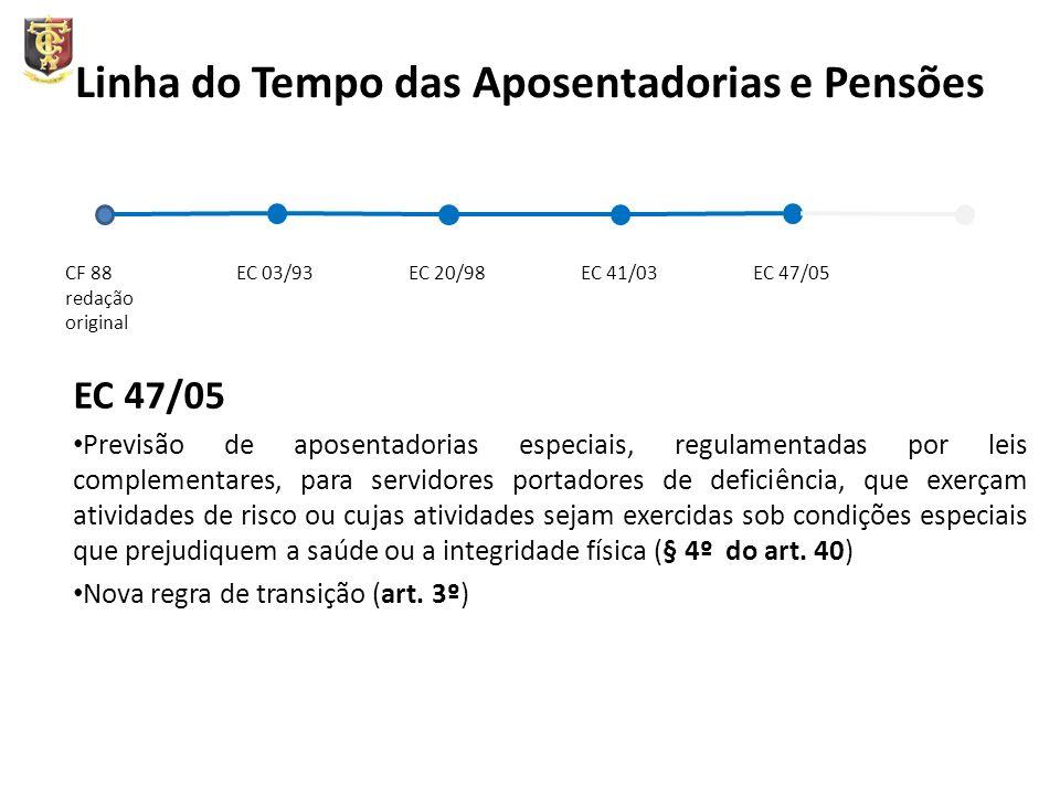 Linha do Tempo das Aposentadorias e Pensões EC 47/05 Previsão de aposentadorias especiais, regulamentadas por leis complementares, para servidores por