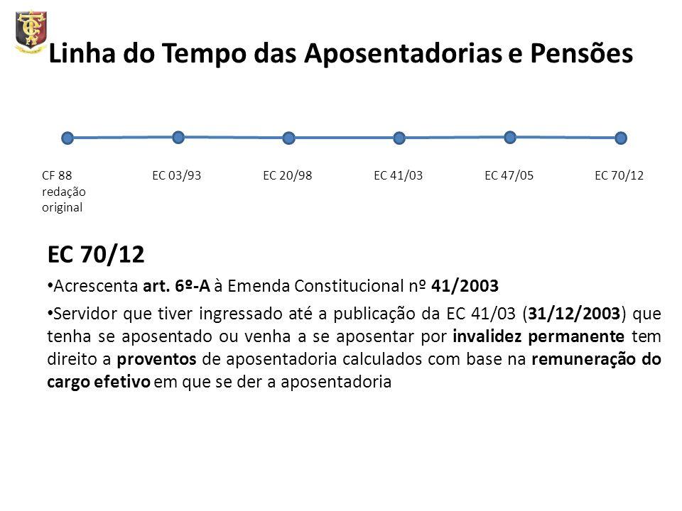 Linha do Tempo das Aposentadorias e Pensões EC 70/12 Acrescenta art. 6º-A à Emenda Constitucional nº 41/2003 Servidor que tiver ingressado até a publi