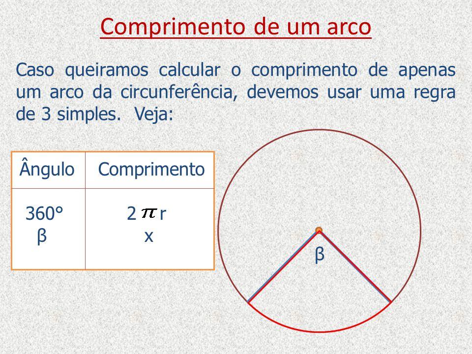 Comprimento de um arco Caso queiramos calcular o comprimento de apenas um arco da circunferência, devemos usar uma regra de 3 simples. Veja: β Ângulo