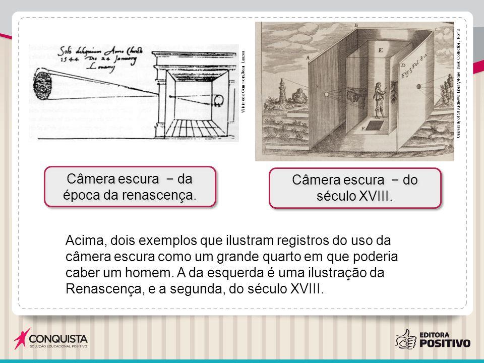 Acima, dois exemplos que ilustram registros do uso da câmera escura como um grande quarto em que poderia caber um homem. A da esquerda é uma ilustraçã