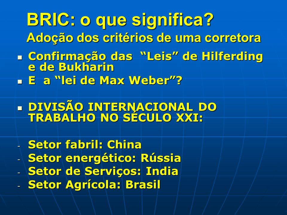 """BRIC: o que significa? Adoção dos critérios de uma corretora Confirmação das """"Leis"""" de Hilferding e de Bukharin Confirmação das """"Leis"""" de Hilferding e"""