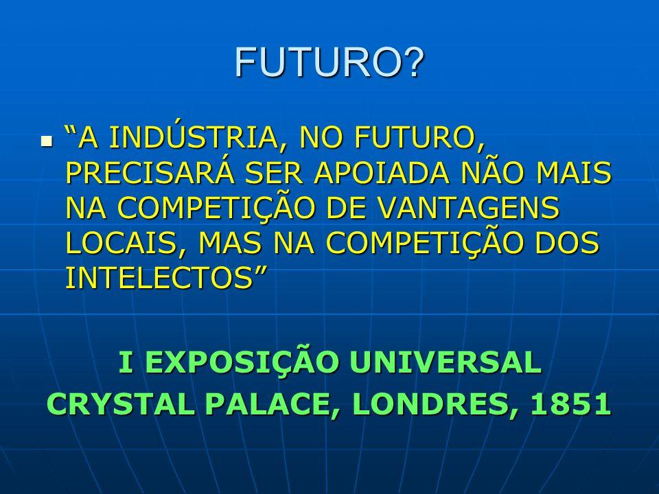 """FUTURO? """"A INDÚSTRIA, NO FUTURO, PRECISARÁ SER APOIADA NÃO MAIS NA COMPETIÇÃO DE VANTAGENS LOCAIS, MAS NA COMPETIÇÃO DOS INTELECTOS"""" """"A INDÚSTRIA, NO"""