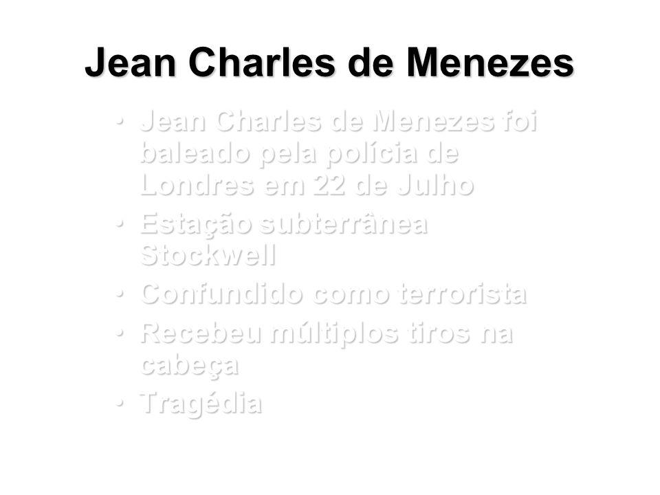 Jean Charles de Menezes Essa apresentação: somente informações disponíveis publicamenteEssa apresentação: somente informações disponíveis publicamente Investigação oficial permanece confidencialInvestigação oficial permanece confidencial Sem fontes 'privadas'Sem fontes 'privadas' Ação divulgada e implicaçõesAção divulgada e implicações