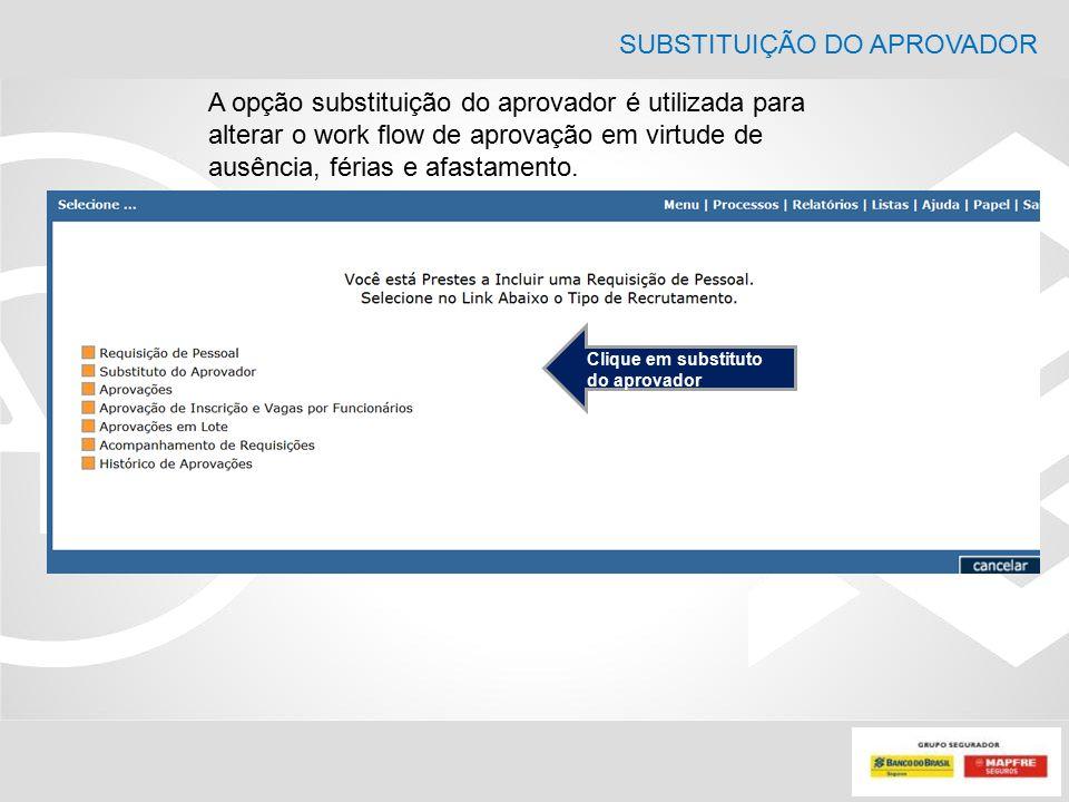 SUBSTITUIÇÃO DO APROVADOR A opção substituição do aprovador é utilizada para alterar o work flow de aprovação em virtude de ausência, férias e afastam