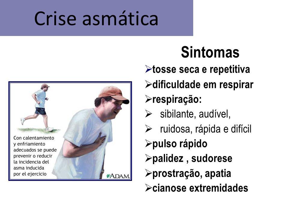 Crise asmática Sintomas  tosse seca e repetitiva  dificuldade em respirar  respiração:  sibilante, audível,  ruidosa, rápida e difícil  pulso rá