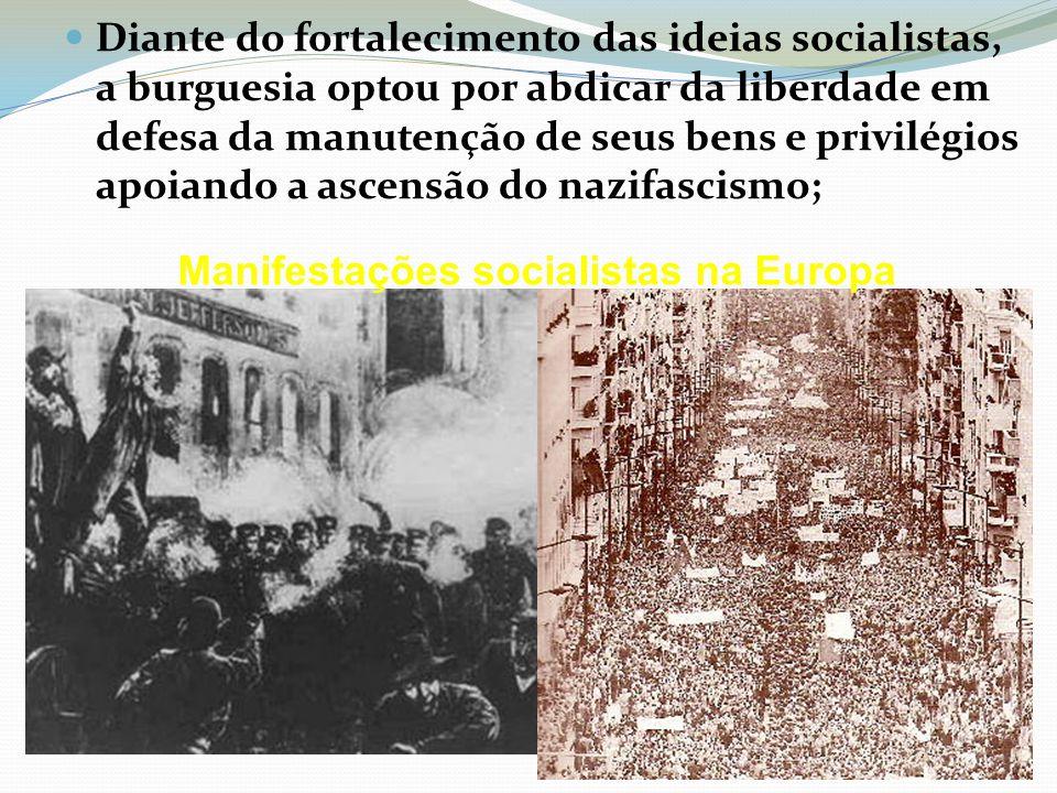 Diante do fortalecimento das ideias socialistas, a burguesia optou por abdicar da liberdade em defesa da manutenção de seus bens e privilégios apoiando a ascensão do nazifascismo; Manifestações socialistas na Europa