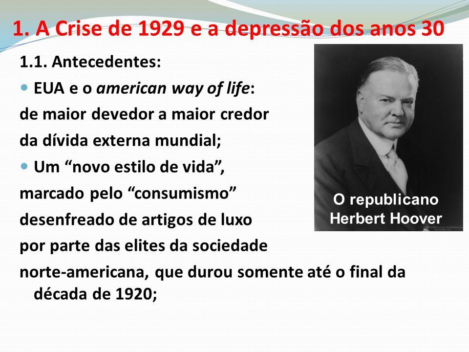 """1.1. Antecedentes: EUA e o american way of life: de maior devedor a maior credor da dívida externa mundial; Um """"novo estilo de vida"""", marcado pelo """"co"""