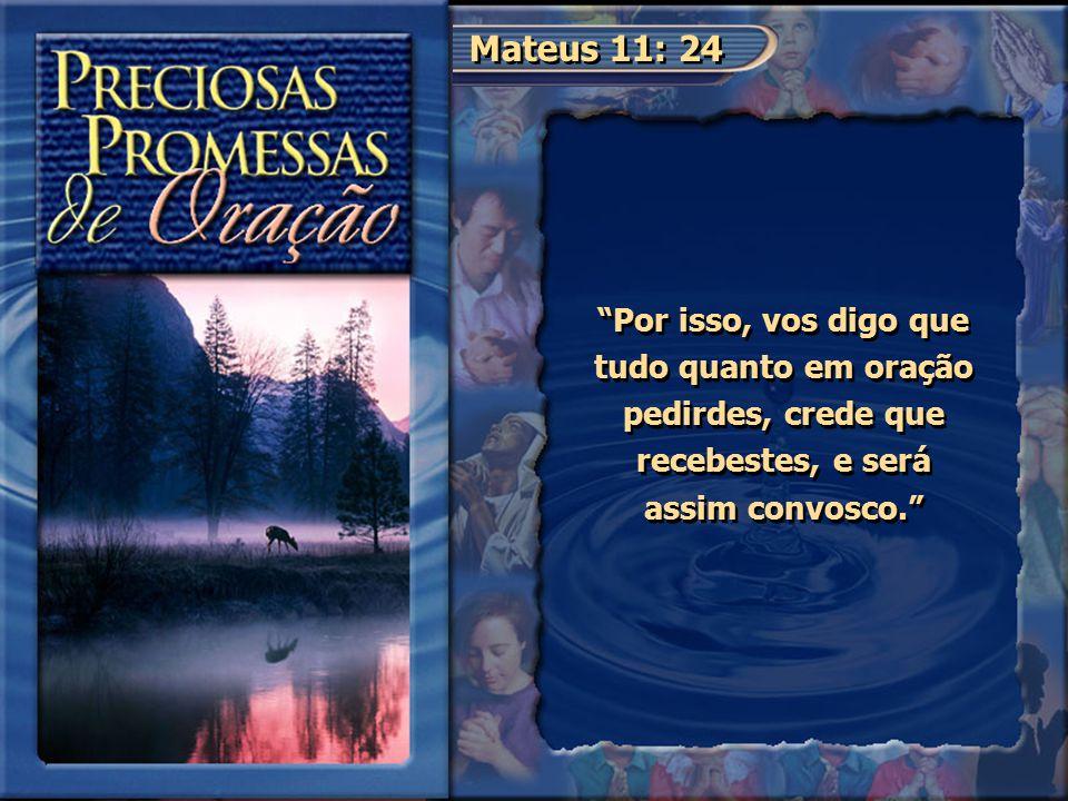 """Mateus 11: 24 """"Por isso, vos digo que tudo quanto em oração pedirdes, crede que recebestes, e será assim convosco."""""""