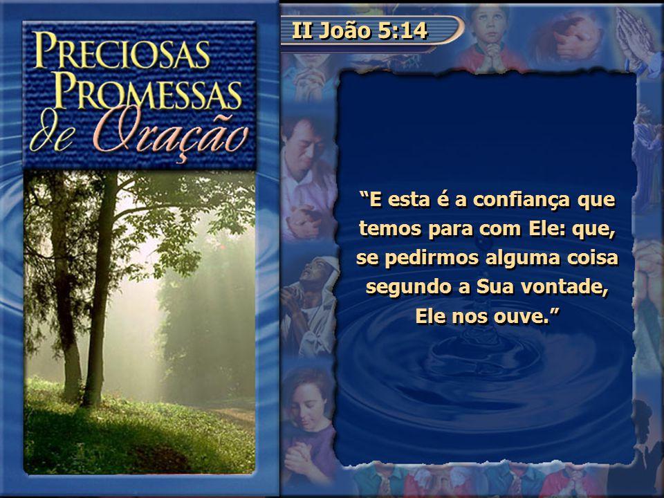 """II João 5:14 """"E esta é a confiança que temos para com Ele: que, se pedirmos alguma coisa segundo a Sua vontade, Ele nos ouve."""""""