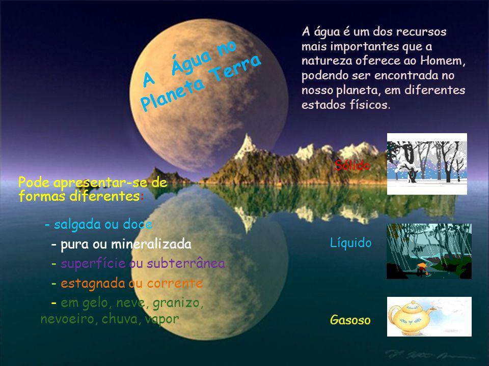 A água é um dos recursos mais importantes que a natureza oferece ao Homem, podendo ser encontrada no nosso planeta, em diferentes estados físicos. Sól