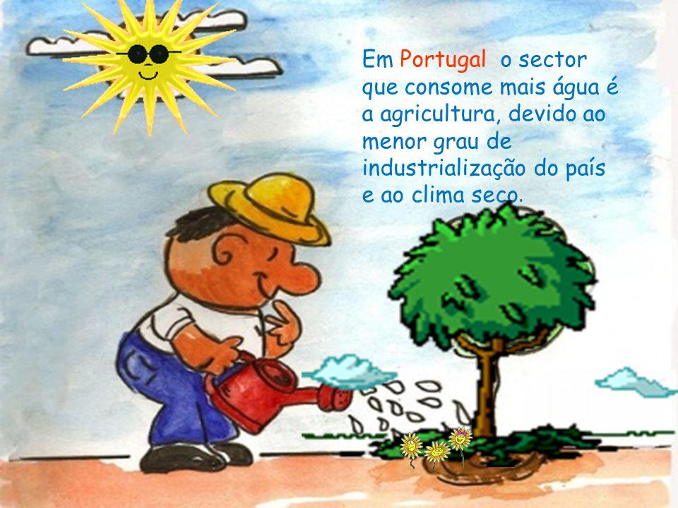 Em Portugal o sector que consome mais água é a agricultura, devido ao menor grau de industrialização do país e ao clima seco.