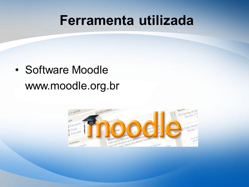Ferramenta utilizada Software Moodle www.moodle.org.br