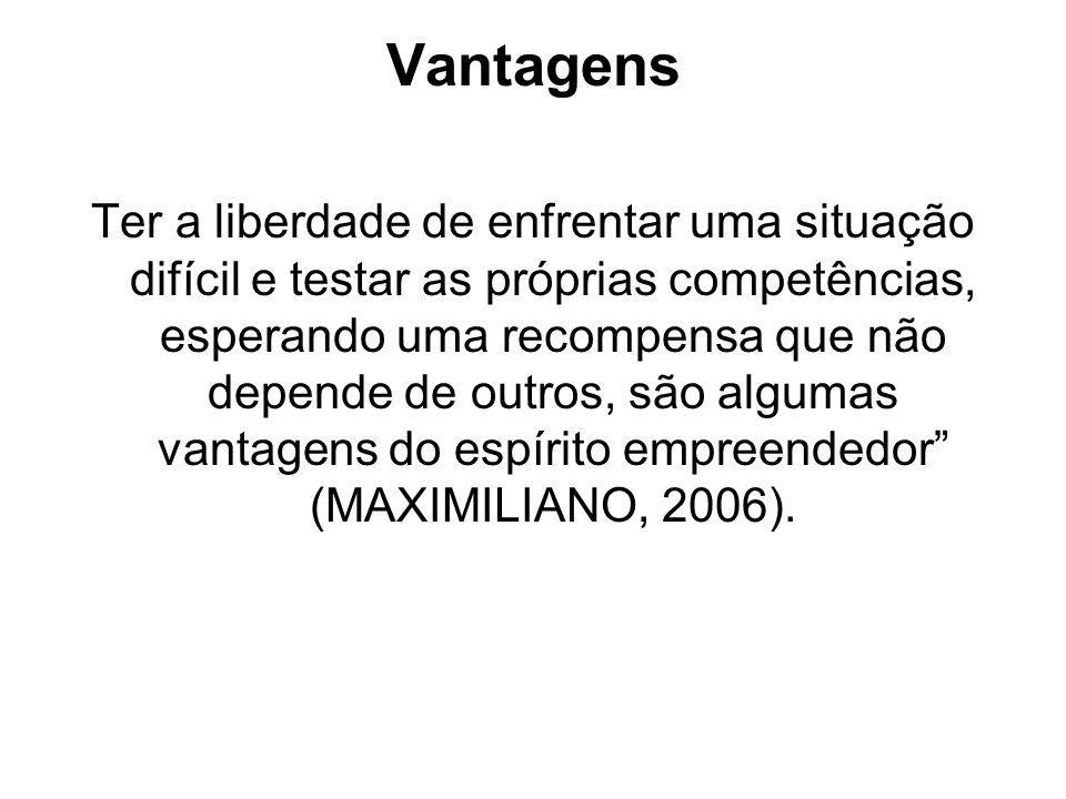 Vantagens Ter a liberdade de enfrentar uma situação difícil e testar as próprias competências, esperando uma recompensa que não depende de outros, são algumas vantagens do espírito empreendedor (MAXIMILIANO, 2006).