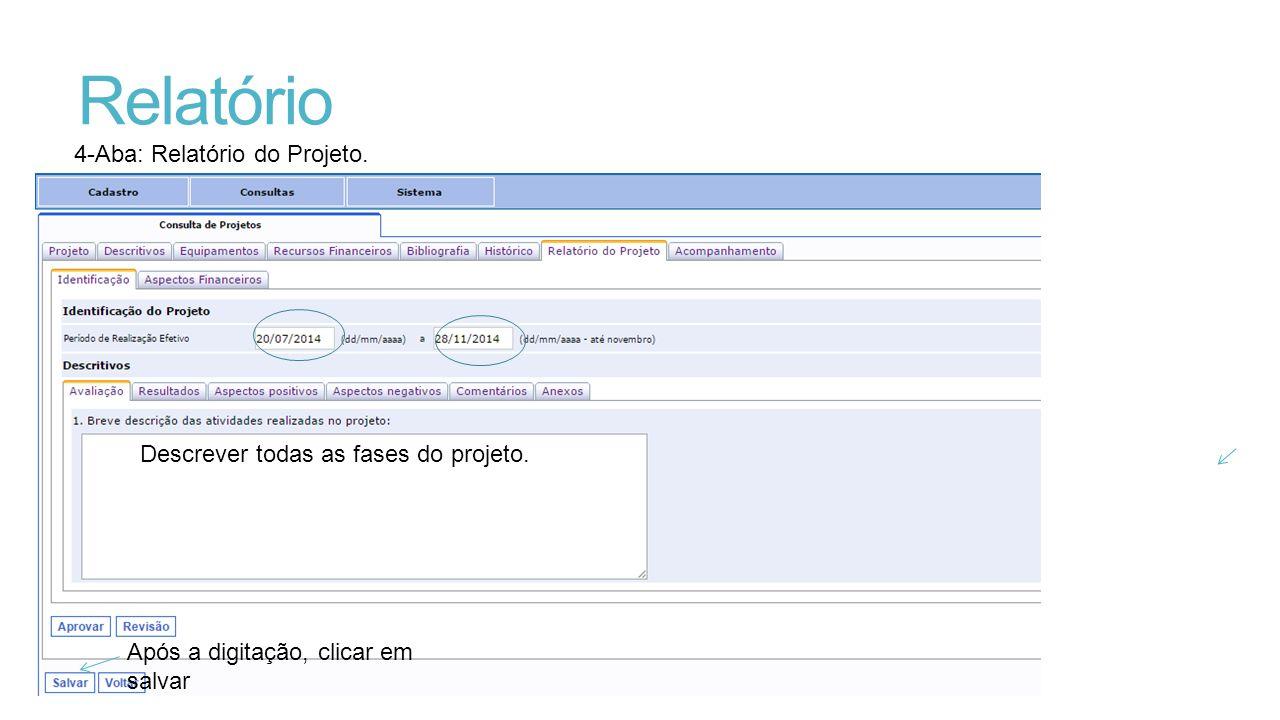 Relatório 4-Aba: Relatório do Projeto.Descrever todas as fases do projeto.