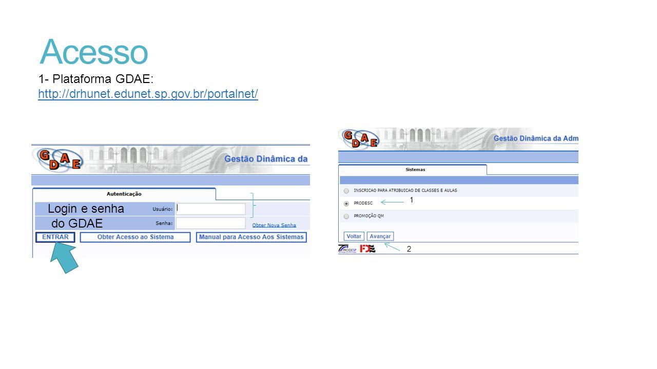 Acesso 1- Plataforma GDAE: http://drhunet.edunet.sp.gov.br/portalnet/ Login e senha do GDAE 1 2