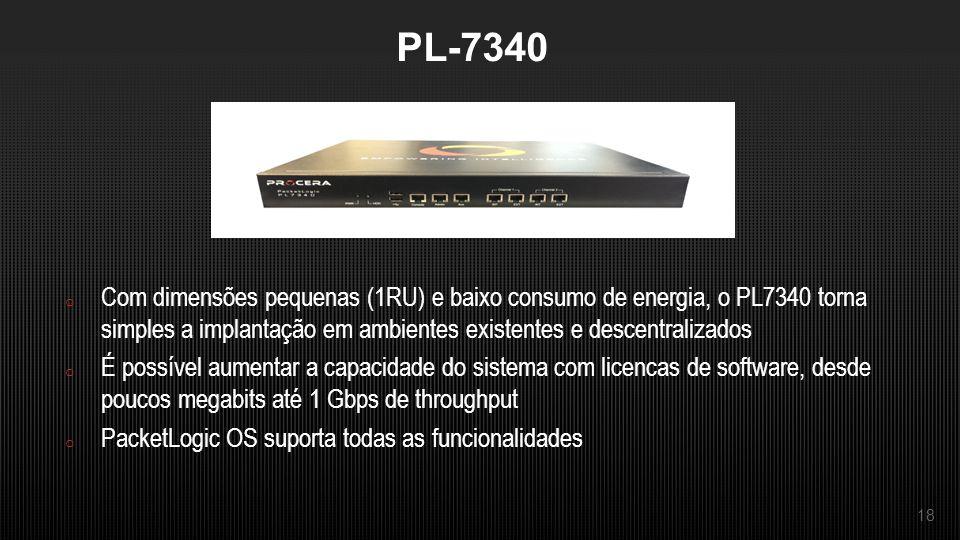 18 PL-7340 o Com dimensões pequenas (1RU) e baixo consumo de energia, o PL7340 torna simples a implantação em ambientes existentes e descentralizados o É possível aumentar a capacidade do sistema com licencas de software, desde poucos megabits até 1 Gbps de throughput o PacketLogic OS suporta todas as funcionalidades