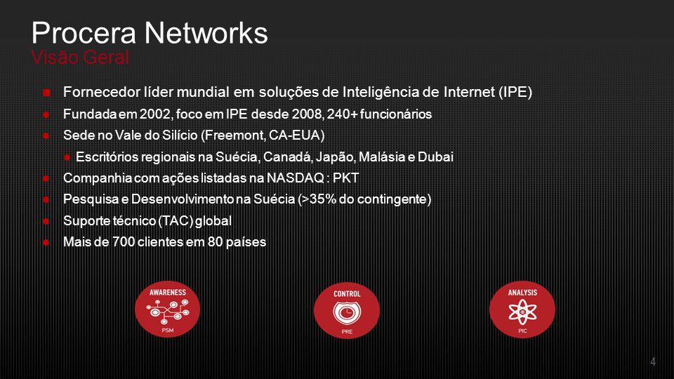 4 Fornecedor líder mundial em soluções de Inteligência de Internet (IPE) Fundada em 2002, foco em IPE desde 2008, 240+ funcionários Sede no Vale do Silício (Freemont, CA-EUA) Escritórios regionais na Suécia, Canadá, Japão, Malásia e Dubai Companhia com ações listadas na NASDAQ : PKT Pesquisa e Desenvolvimento na Suécia (>35% do contingente) Suporte técnico (TAC) global Mais de 700 clientes em 80 países Procera Networks Visão Geral