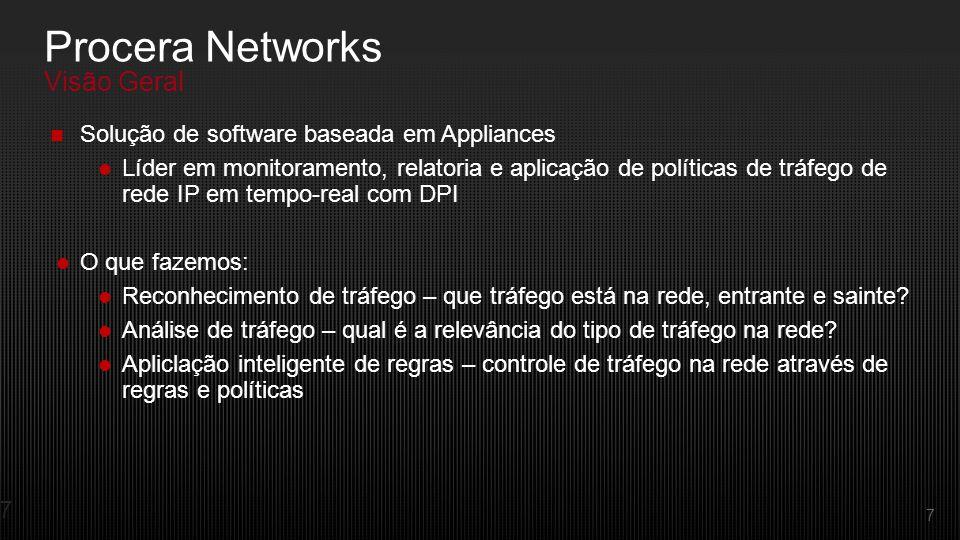 7 Solução de software baseada em Appliances Líder em monitoramento, relatoria e aplicação de políticas de tráfego de rede IP em tempo-real com DPI O que fazemos: Reconhecimento de tráfego – que tráfego está na rede, entrante e sainte.