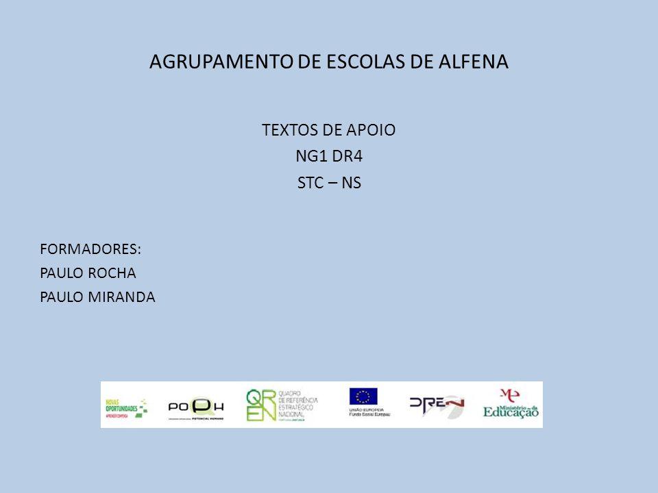 AGRUPAMENTO DE ESCOLAS DE ALFENA TEXTOS DE APOIO NG1 DR4 STC – NS FORMADORES: PAULO ROCHA PAULO MIRANDA
