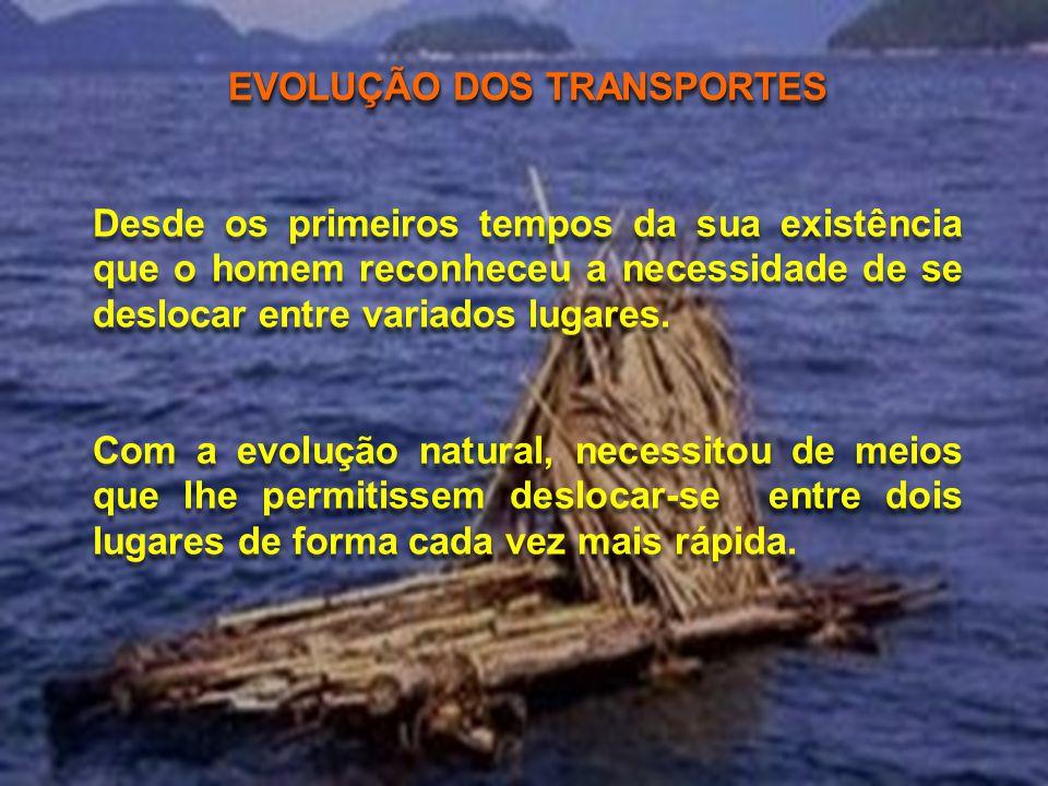 EVOLUÇÃO DOS TRANSPORTES Desde os primeiros tempos da sua existência que o homem reconheceu a necessidade de se deslocar entre variados lugares.