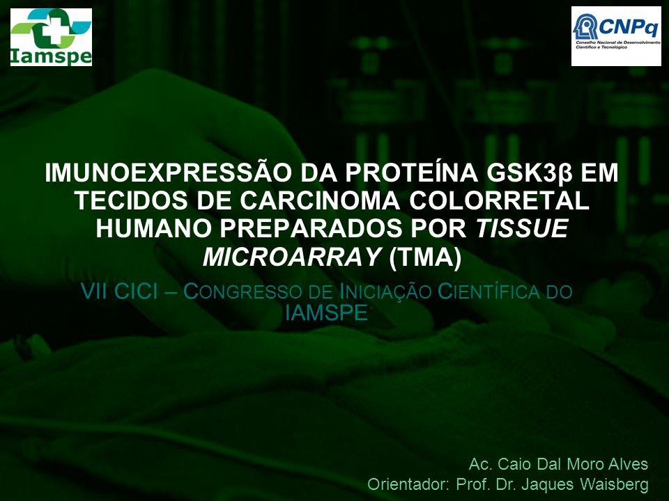IMUNOEXPRESSÃO DA PROTEÍNA GSK3β EM TECIDOS DE CARCINOMA COLORRETAL HUMANO PREPARADOS POR TISSUE MICROARRAY (TMA) VII CICI – C ONGRESSO DE I NICIAÇÃO