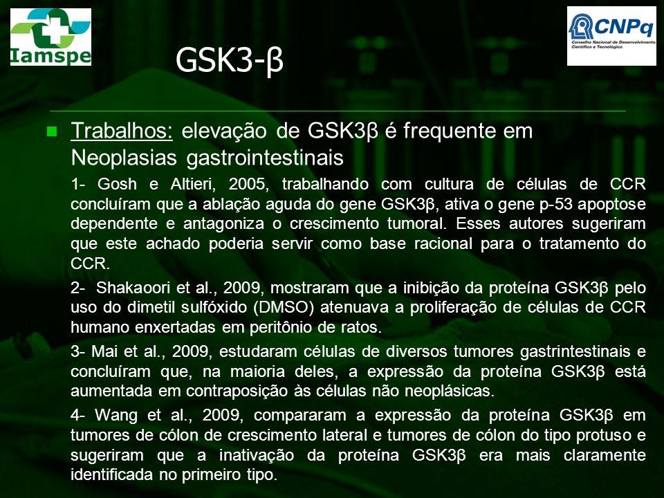 GSK3-β Trabalhos: elevação de GSK3β é frequente em Neoplasias gastrointestinais 1- Gosh e Altieri, 2005, trabalhando com cultura de células de CCR con