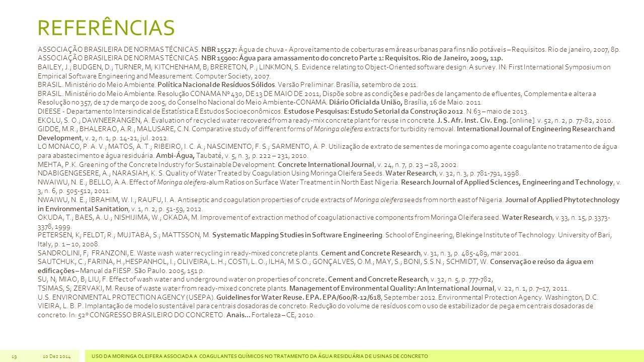 REFERÊNCIAS 19 ASSOCIAÇÃO BRASILEIRA DE NORMAS TÉCNICAS. NBR 15527: Água de chuva - Aproveitamento de coberturas em áreas urbanas para fins não potáve