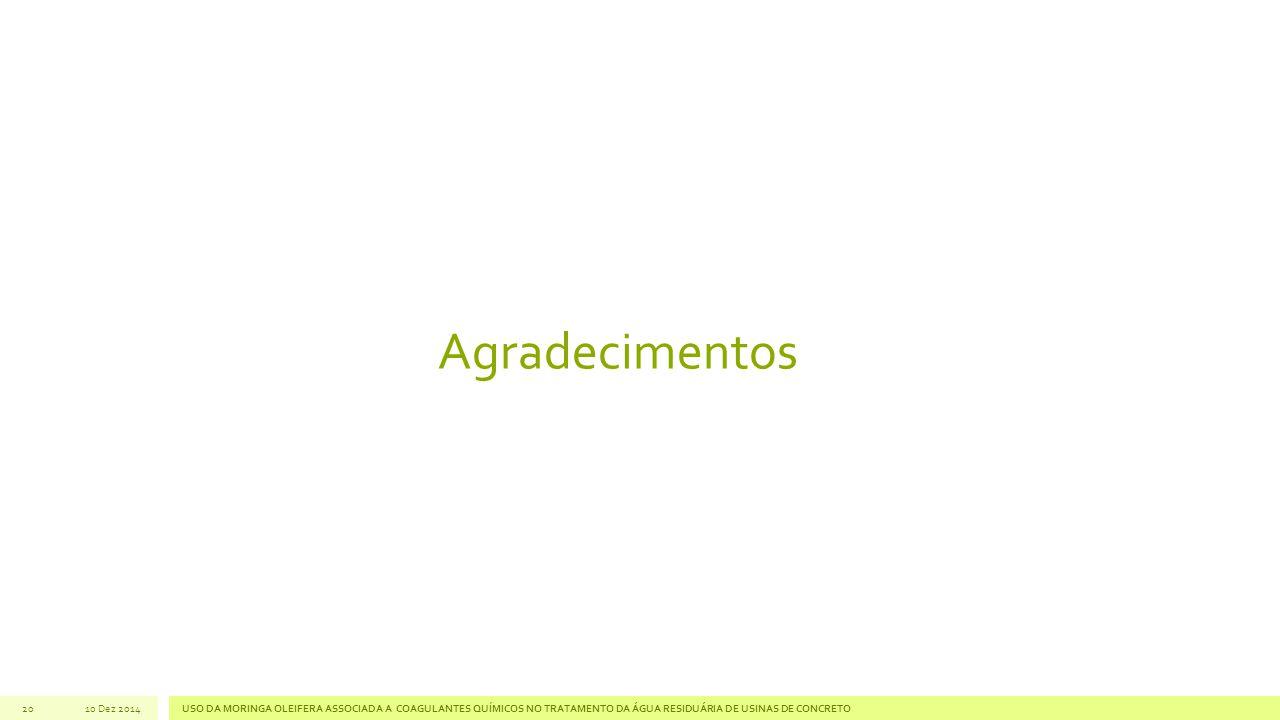 20 Agradecimentos 10 Dez 2014USO DA MORINGA OLEIFERA ASSOCIADA A COAGULANTES QUÍMICOS NO TRATAMENTO DA ÁGUA RESIDUÁRIA DE USINAS DE CONCRETO