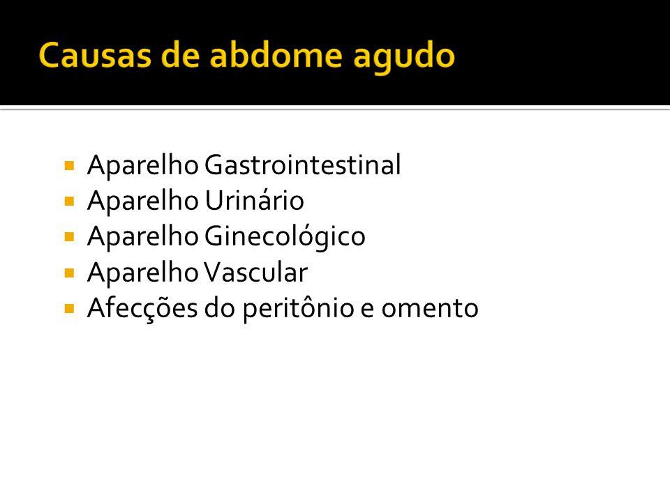 Aparelho Gastrointestinal  Aparelho Urinário  Aparelho Ginecológico  Aparelho Vascular  Afecções do peritônio e omento