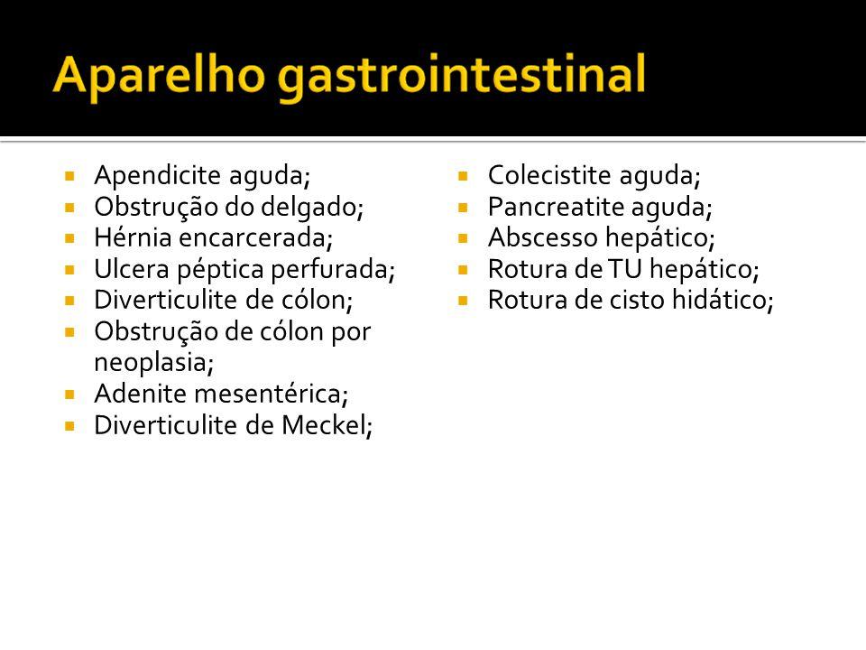  Apendicite aguda;  Obstrução do delgado;  Hérnia encarcerada;  Ulcera péptica perfurada;  Diverticulite de cólon;  Obstrução de cólon por neoplasia;  Adenite mesentérica;  Diverticulite de Meckel;  Colecistite aguda;  Pancreatite aguda;  Abscesso hepático;  Rotura de TU hepático;  Rotura de cisto hidático;